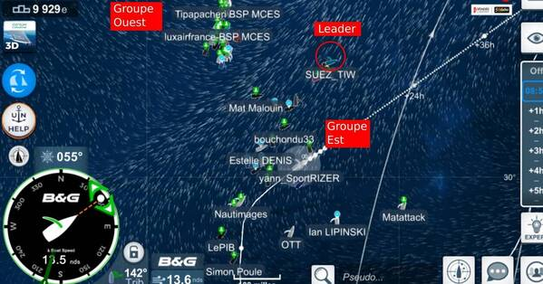 La situation des leaders de Virtual Regatta ce mardi 12 janvier à 9 h.