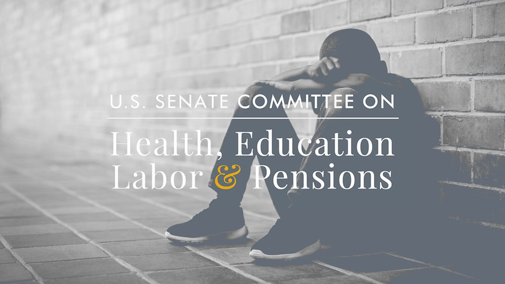 U.S. Senate Committee on Health, Education, Labor & Pensions over a photo of a black boy sitting with his head on his arms