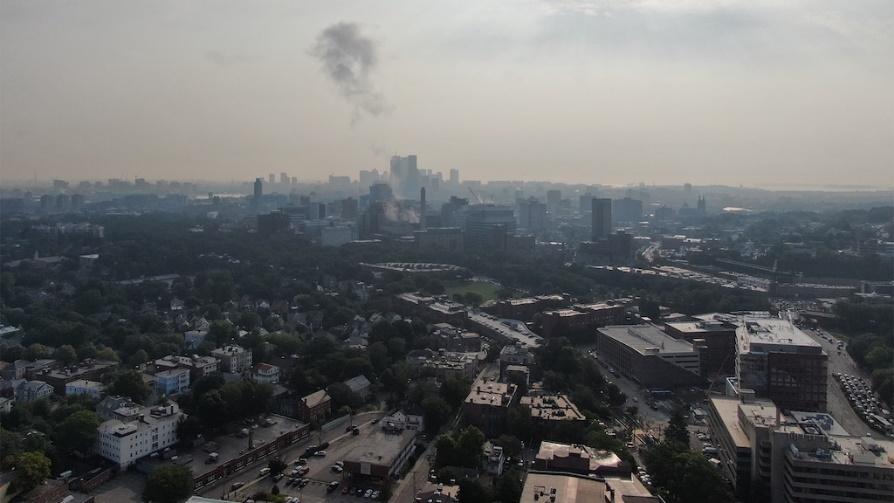 The Boston skyline shrouded in smog