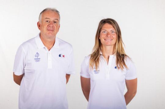 Marie Bolou et son coach François Husson © Robin Cristol / FFvoile